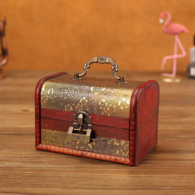 Boîte de rangement bijoux en bois style Vintage