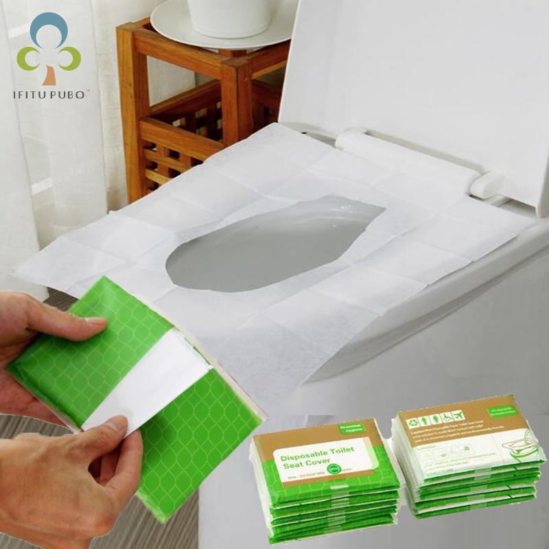 5 paquets = 50 pièces Housses de Siège de Toilette en Papier jetables
