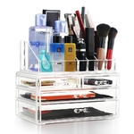 Clair-acrylique-cosm-tique-maquillage-organisateur-et-bijoux-stockage-vitrine-Transparent-2-pi-ces-tiroir-ensemble