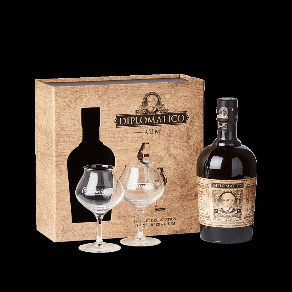 DIPLOMÁTICO, Seleccion De Familia Coffret (deux verres + 70cl)