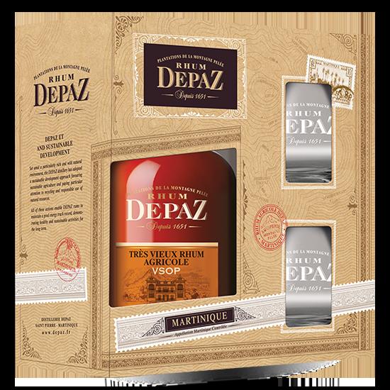 DEPAZ, VSOP réserve spécial 7 ans - coffret deux verres