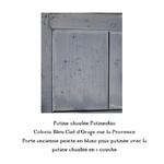patine chaulée bleu ciel dorage sur la provence sur porte ancienne