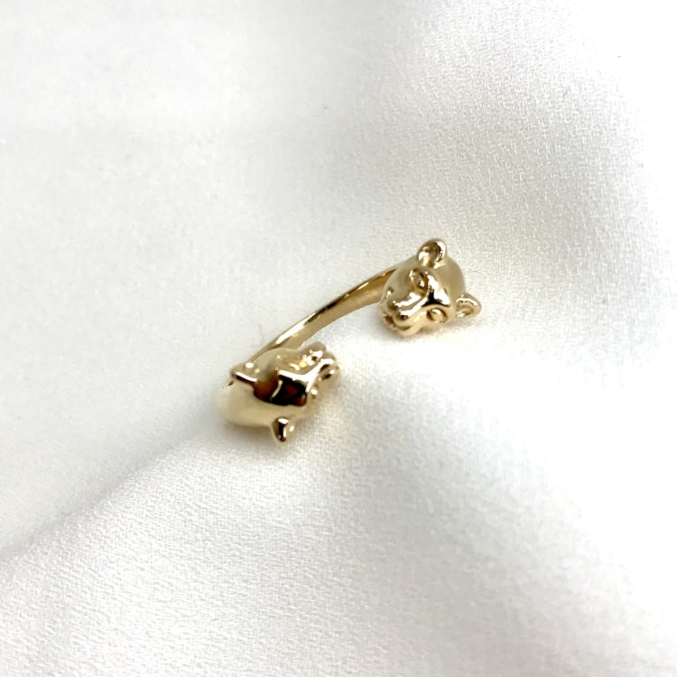 Bague en plaqué or 3 microns  avec 2 têtes de panthère à chaque extrémité
