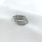 Bague Semainier argent 7 anneaux torsadés et simples