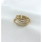 Bague Semainier plaqué or 7 anneaux torsadés et simples
