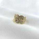 Bague Victoria plaqué or tresse rainurée texturée entrelacée