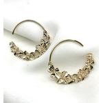boucles d'oreilles créoles ouvertes en plaqué or 3 microns motif feuilles et fleurs