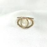 bague en plaqué or 3 microns 2 anneaux sertis d'une pierre de lune, pierre semi-précieuse