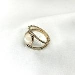 bague plaqué or 3 microns composée de 2 anneaux sertis dune pierre de lune, pierre semi-précieuse
