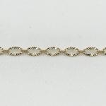 chaine de cheville maillon ovale strié en plaqué or 3 microns