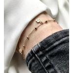 bracelet - chaine de cheville plaqué or chaine boules et 4 pendentif trèfle à 4 feuilles