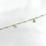 bracelet - chaine de cheville en plaqué or 3 microns, chaine boules et 4 pendentif trèfle à 4 feuilles