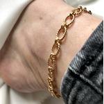 bracelet - chaine de cheville en plaqué or 3 microns maillons ovales rainurés