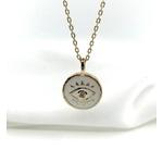 Collier Benita blanc plaqué or médaillon pendentif œil plusieurs longueurs