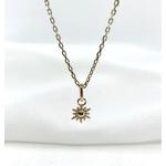 Collier Helene plaqué or pendentif médaillon soleil