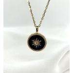 Collier Stella noir plaqué or médaillon pendentif rond étoile plusieurs longueurs