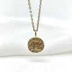Collier Astro plaqué or médaillon pendentif rond signe astrologique astrologie