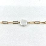 Bracelet Tess plaqué or nacre grosse maille rectangulaire