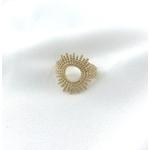 Bague Keren plaqué or soleil fines perles dorées