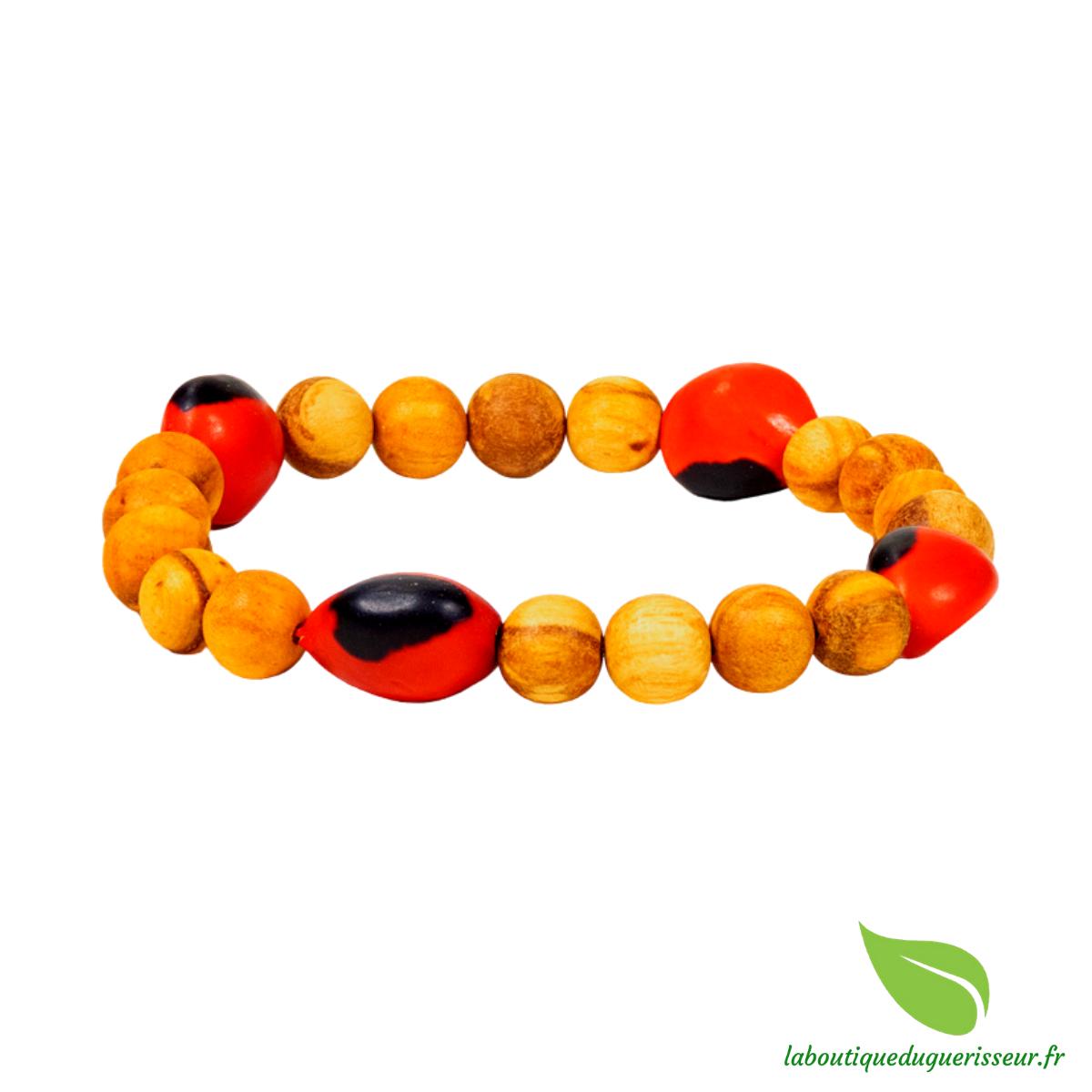Bracelet bois de Palo santo + Huayruro