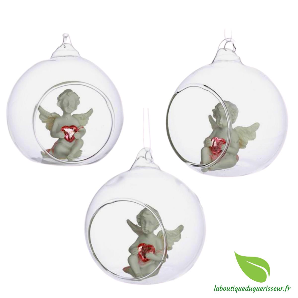 Boules de Noël en Verre Chérubin Douce Nuit x3