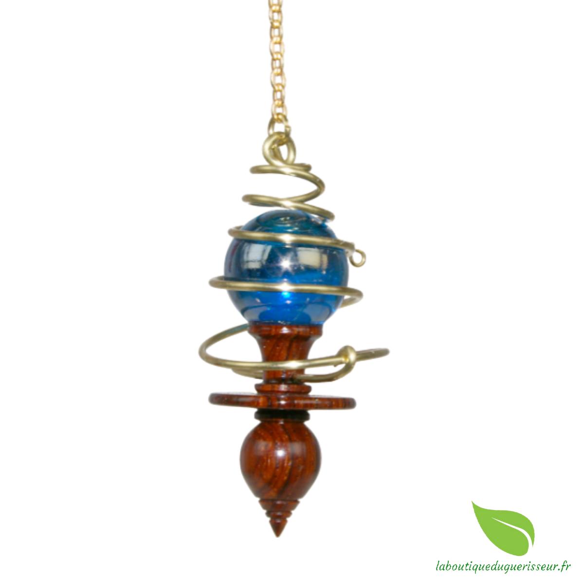 Pendule du Guérisseur (Bois Précieux exotique, laiton et sphère bleue de Murano)
