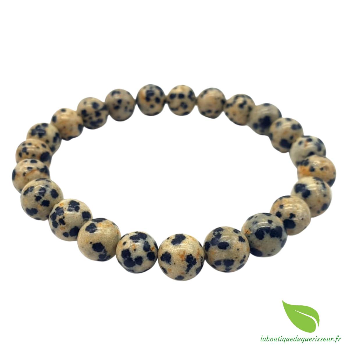 Bracelet Jaspe Dalmatien Perles 8mm
