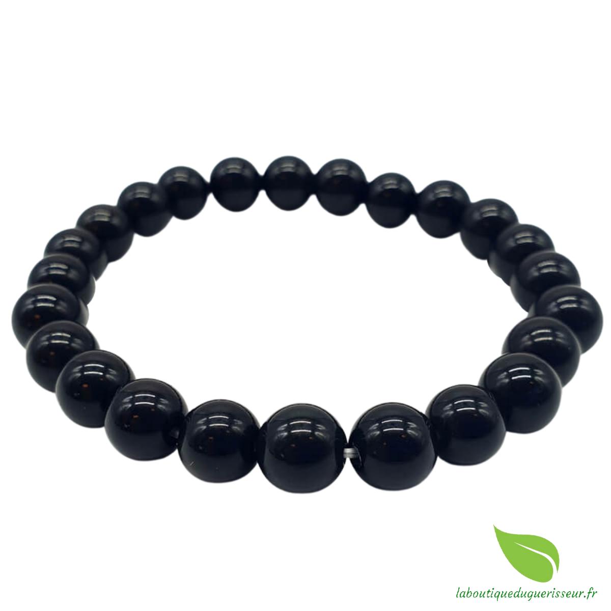 Bracelet Obsidienne Noire Perles 8mm