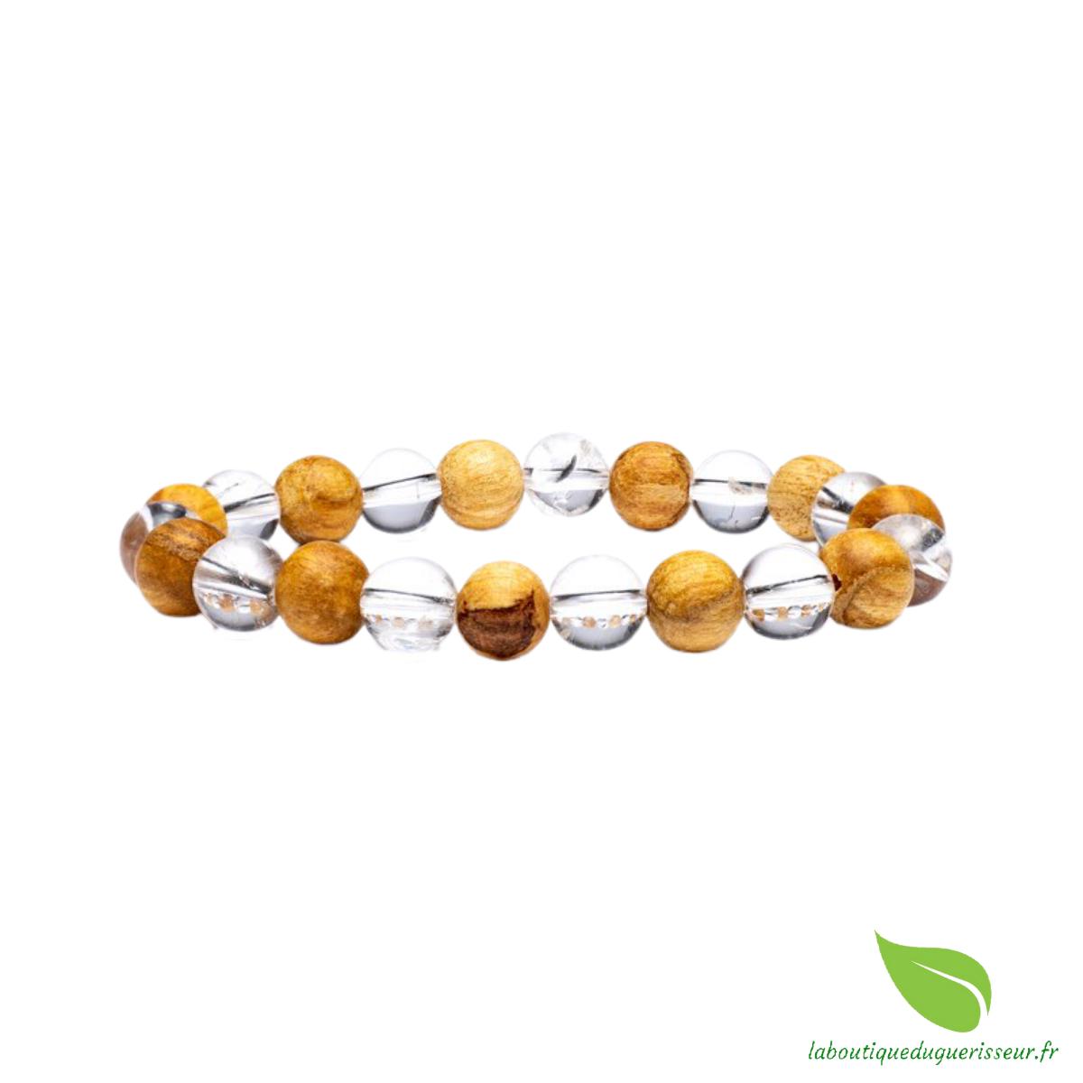 Bracelet bois de Palo santo + Cristal de Roche