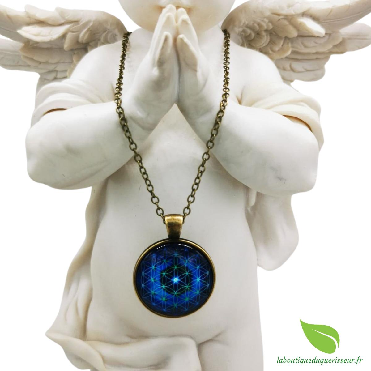 Collier Fleur de Vie Bleue