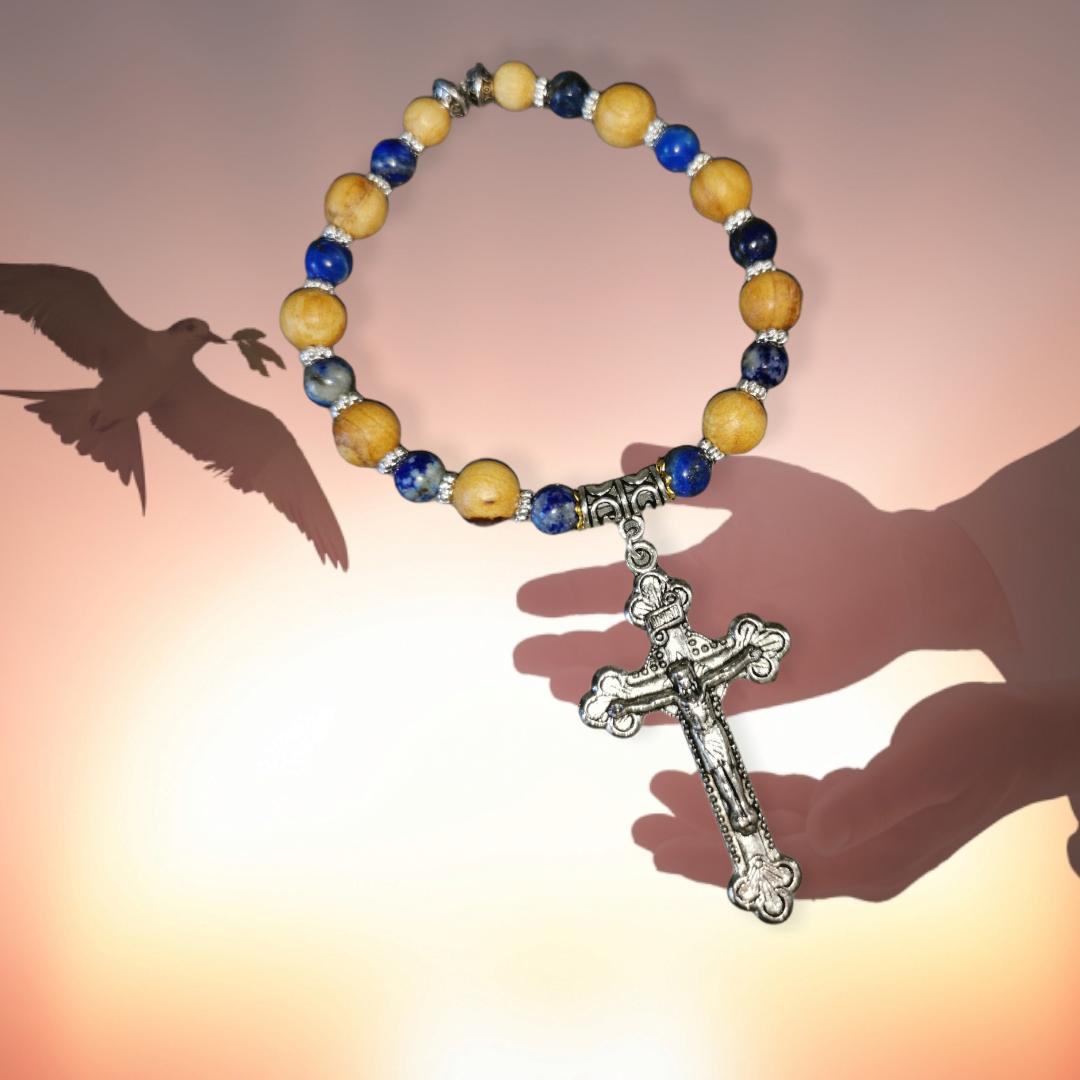 Bracelet Dizainier de protection PATER NOSTER - Lapis Lazuli et Palo Santo