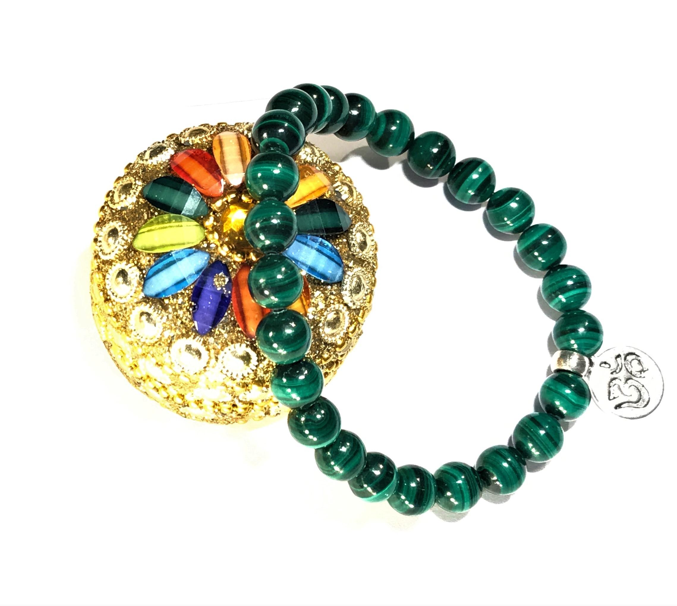 Bracelet Malachite et médaille Om