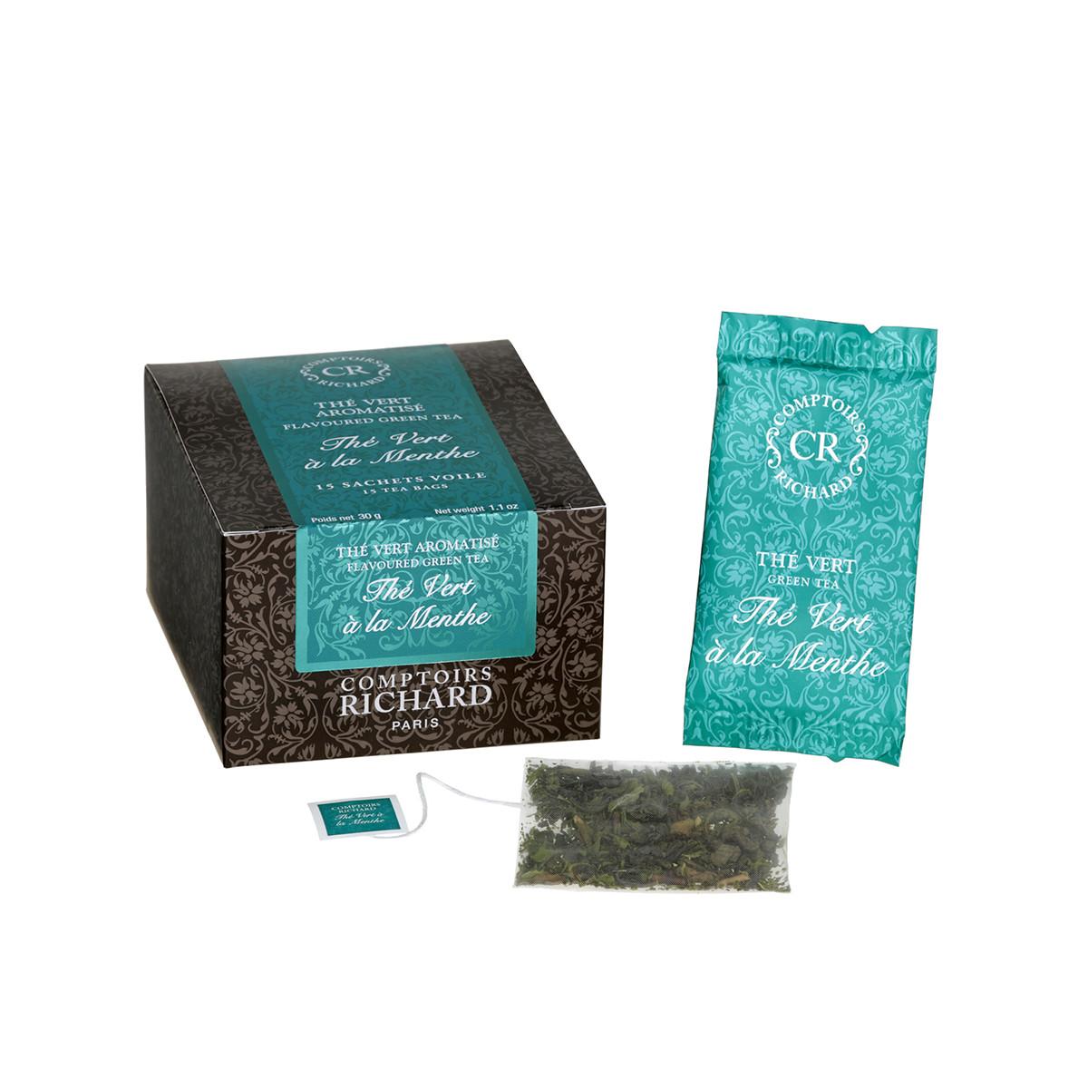 Thé vert à la menthe sachets voile x15