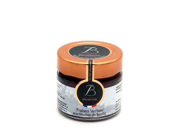 """Fraises """"de l'Isère"""" aux feuilles de basilic (pot de 100 grammes)"""