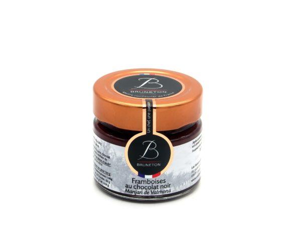 "Framboises au chocolat noir ""Manjari"" (pot de 100 grammes)"