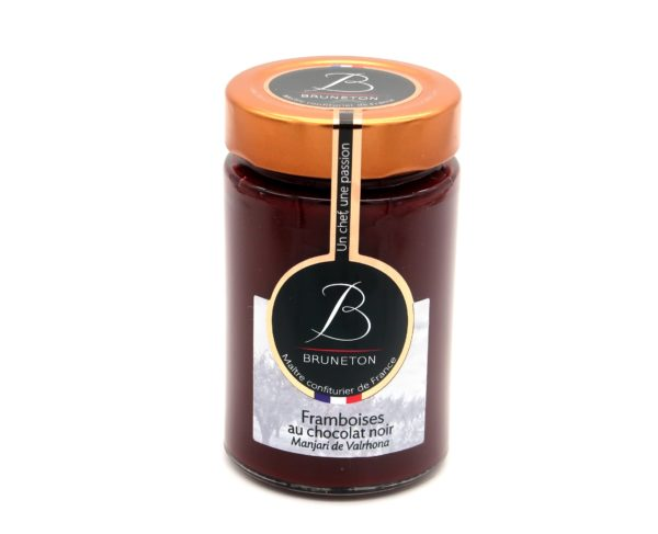 "Framboises au chocolat noir ""Manjari"" (pot de 230 grammes)"