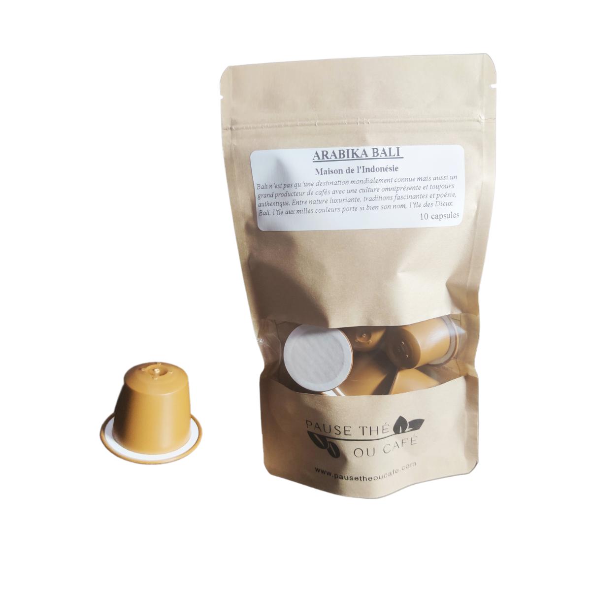 Café Volcanique Arabika Bali Décaféiné capsules compatibles Nespresso® x10