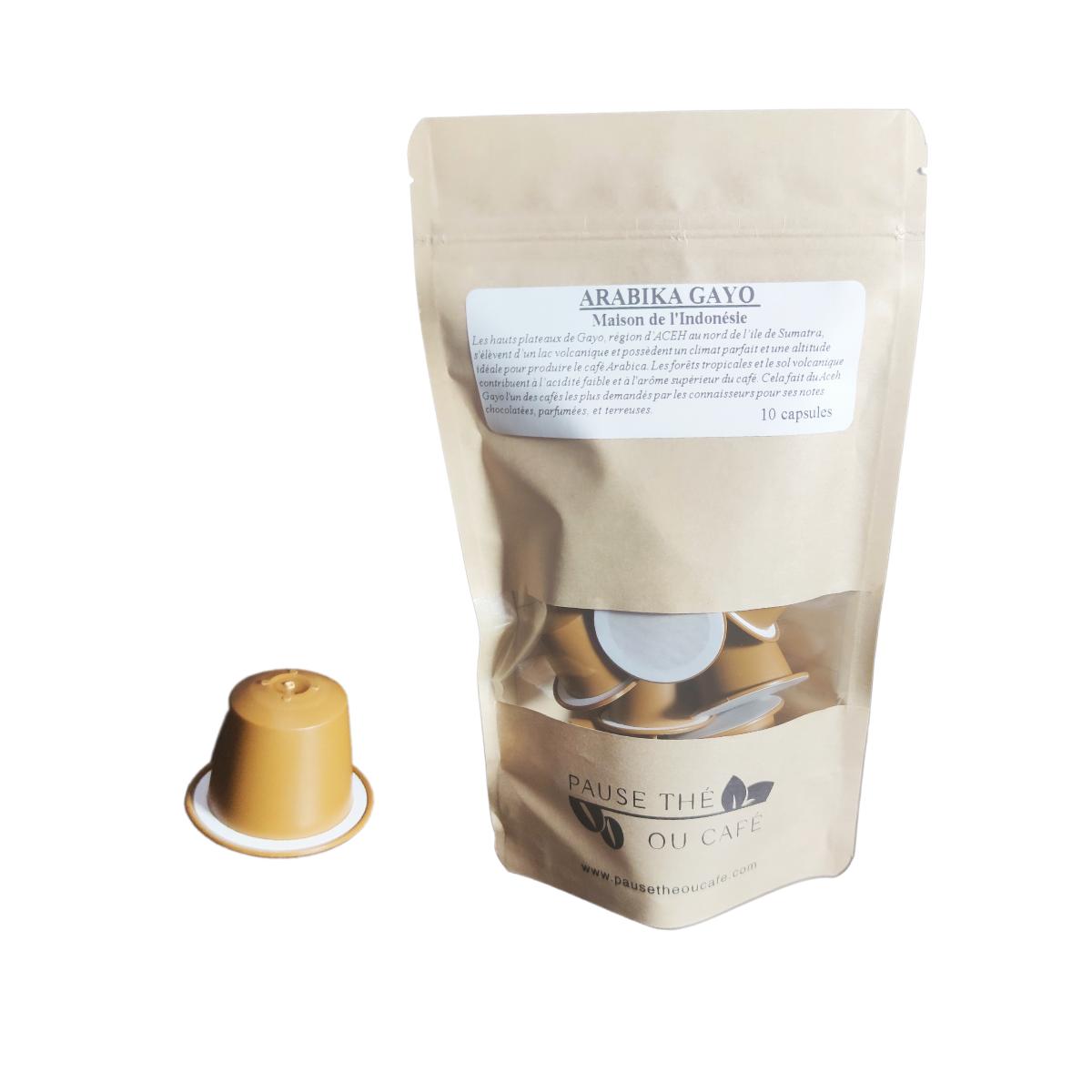 Café Volcanique Arabika Gayo Décaféiné capsules compatibles Nespresso® x10