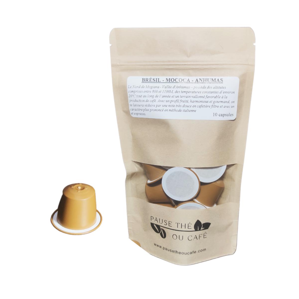 Café du Brésil Mococa capsules compatibles Nespresso® x10