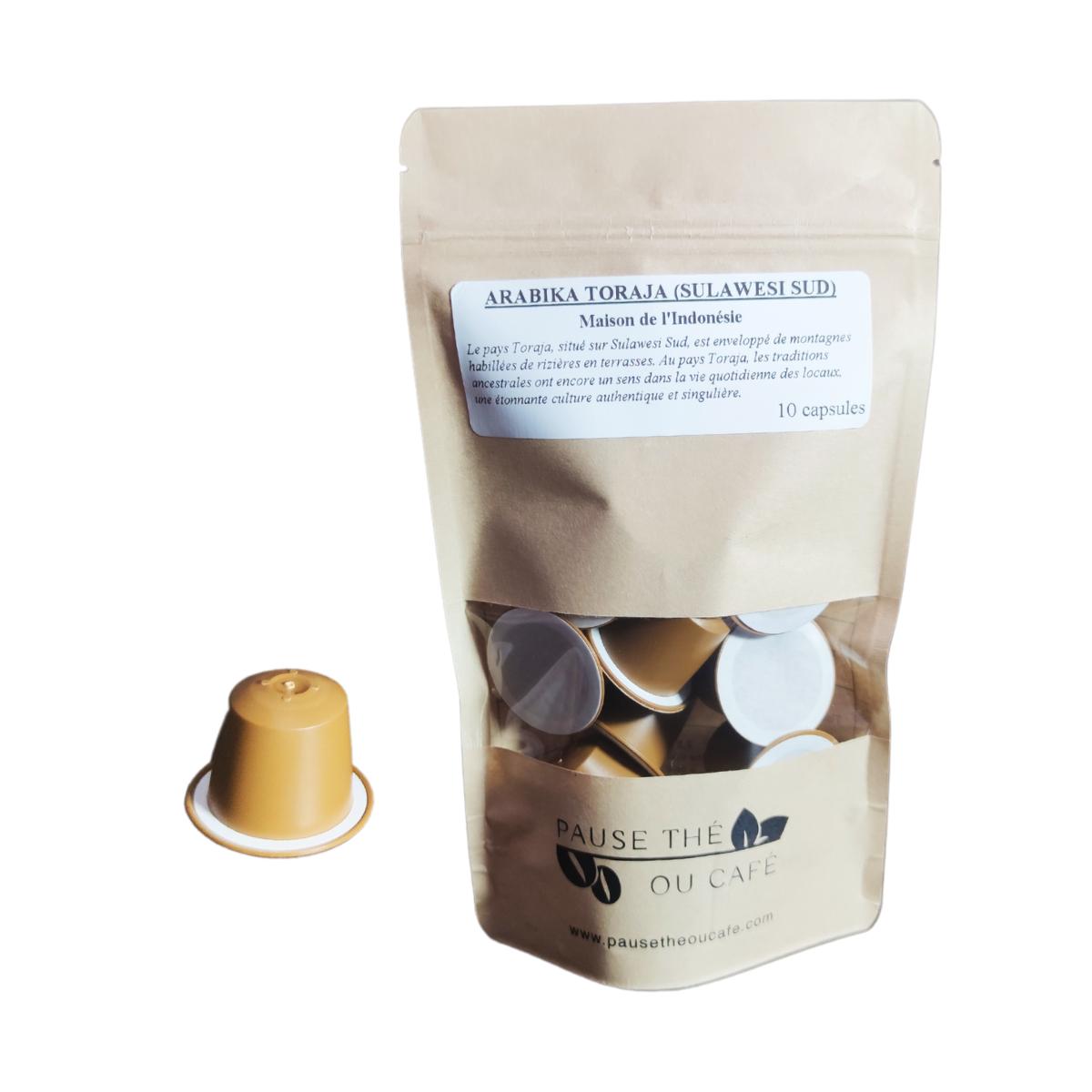 Café Microlot Arabika Toraja compatibles Nespresso® x10