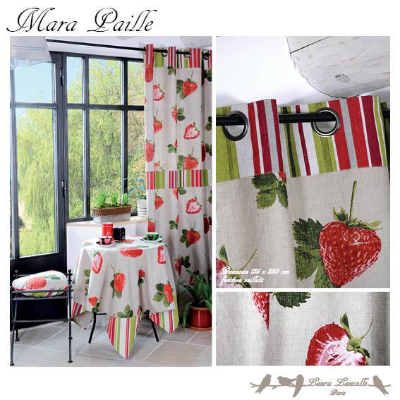 rideau oeillet fraise linge de maison rideau pr t poser l 39 atelier toile de lin. Black Bedroom Furniture Sets. Home Design Ideas