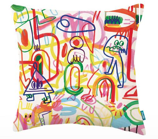 Rainbow Scrawl Cushion