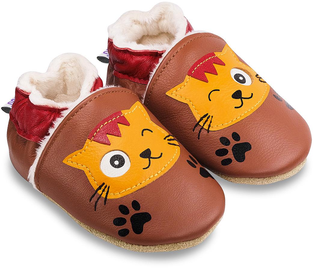 Chaussons fourrés en cuir pour enfant Nougat le Chat
