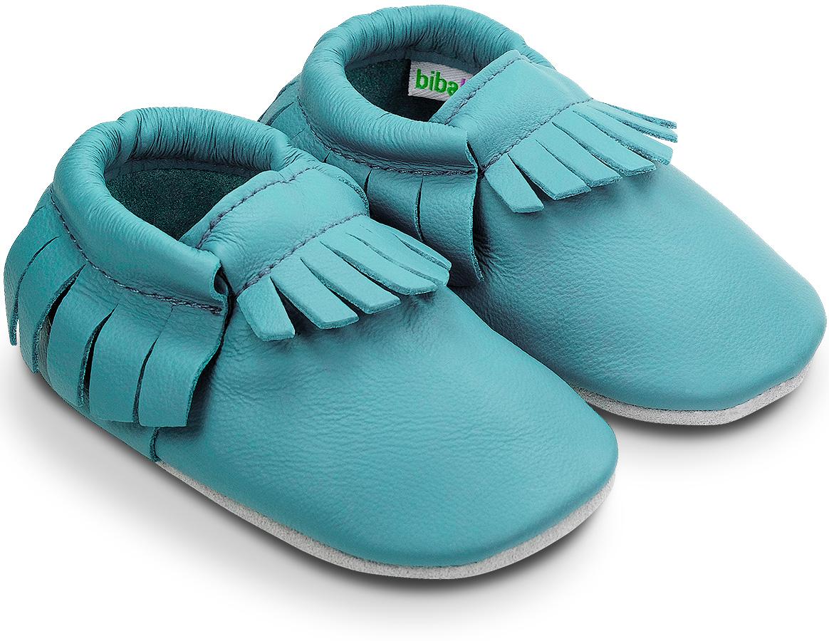Chaussons à franges en cuir souple Uni Bleu Corail