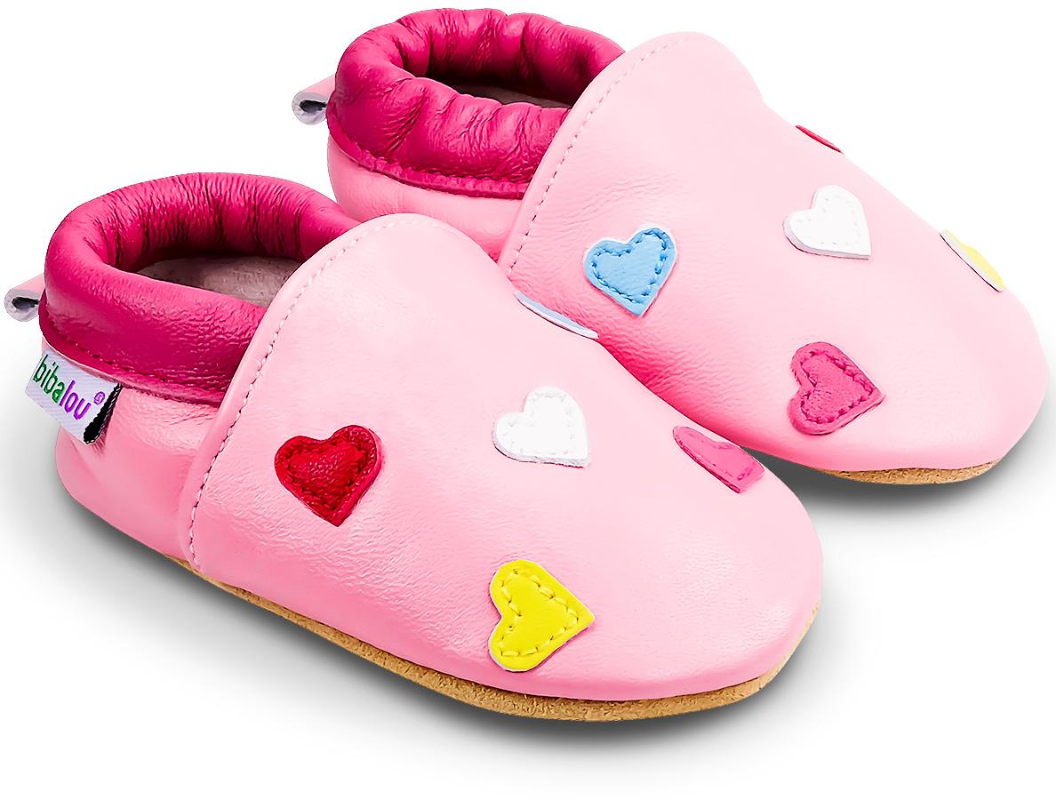 Chaussons bébé en cuir souple Mini Coeurs - rose