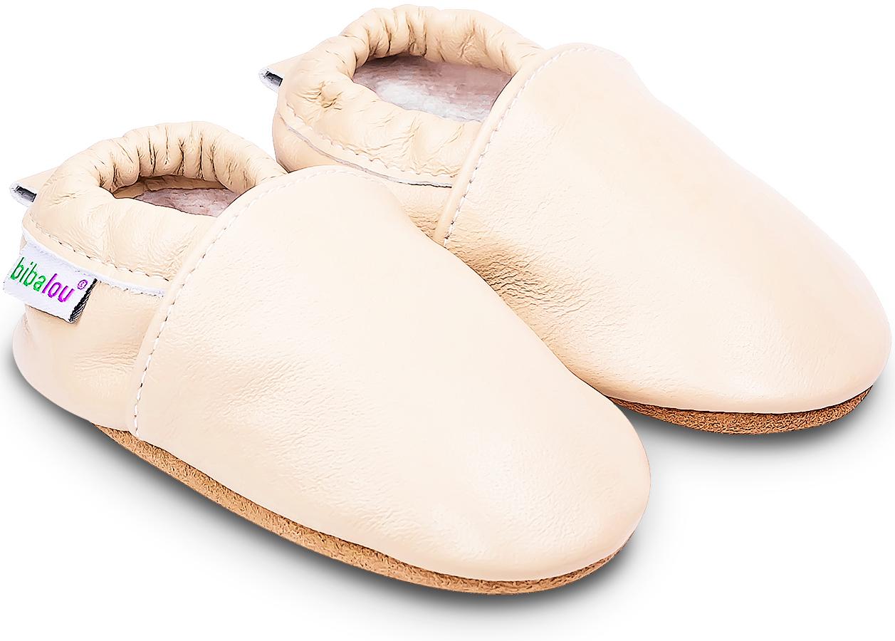 Chaussons bébé en cuir souple Unis - Beige