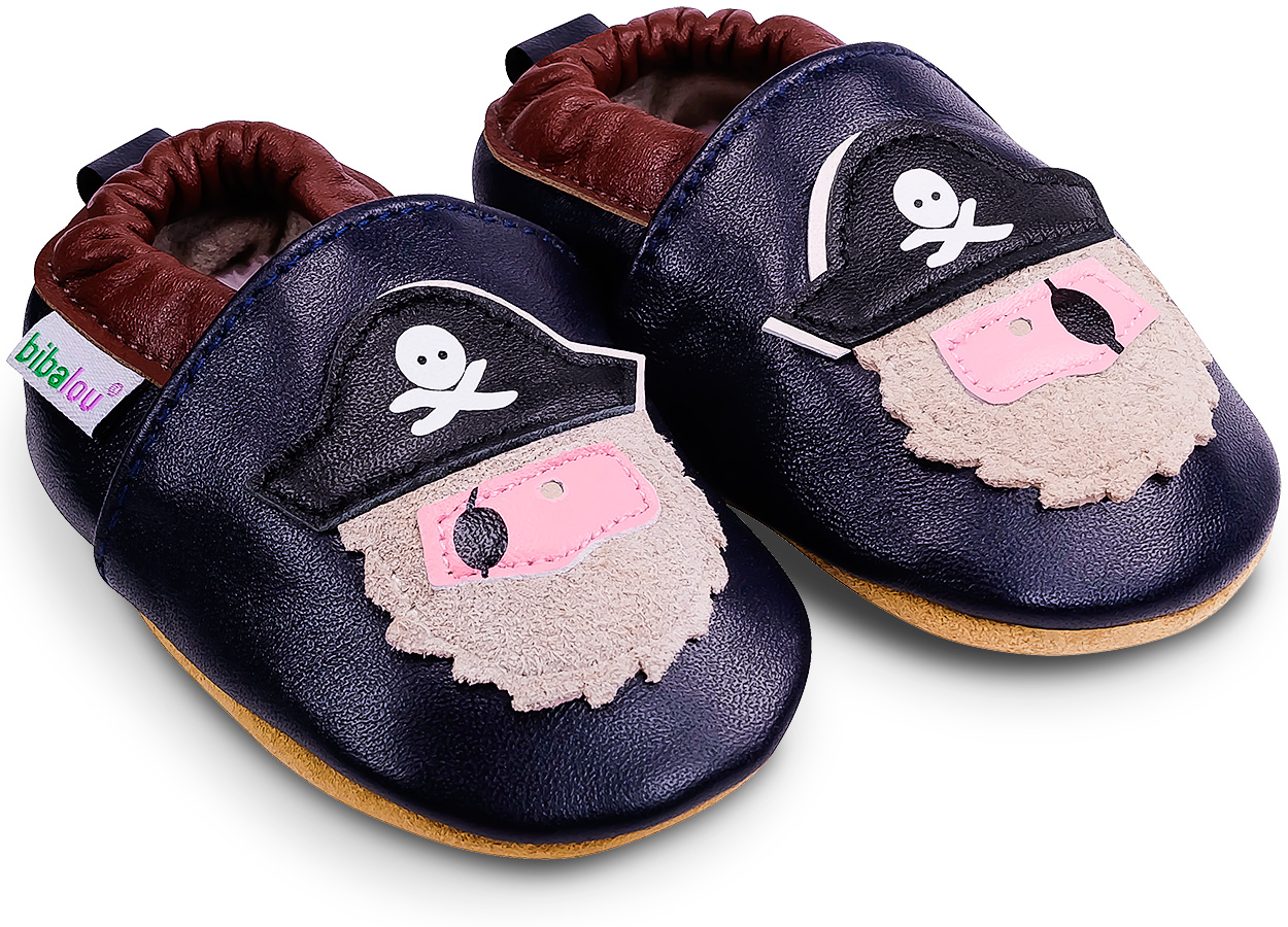Chaussons bébé en cuir souple Barbe Grise le Pirate