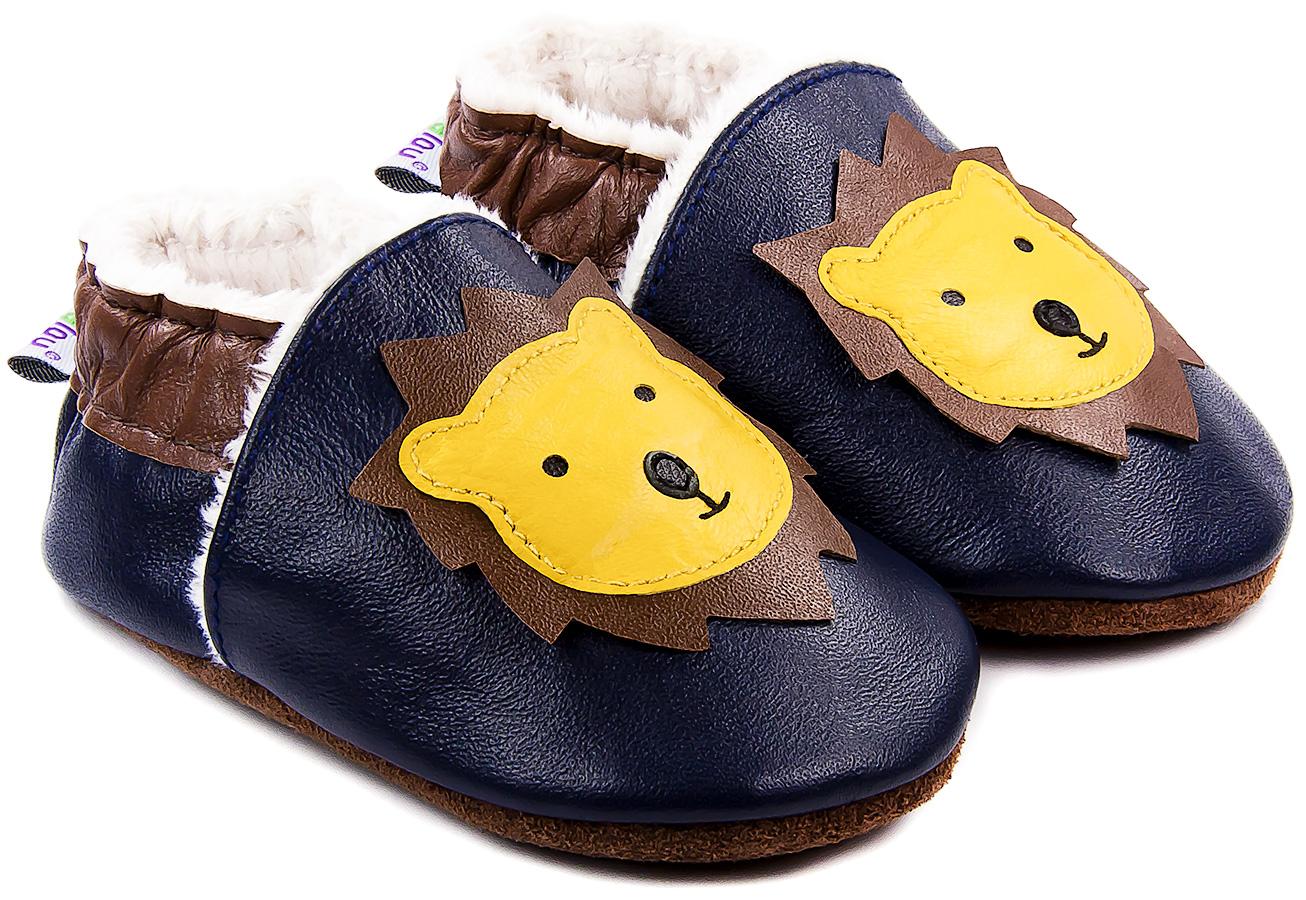 Chaussons bébé fourrés en cuir Léon le Lion - bleu