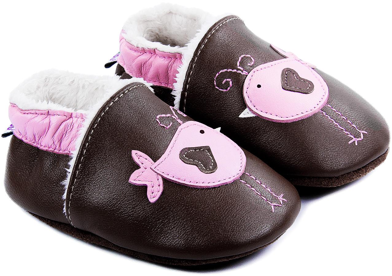 Chaussons bébé fourrés en cuir Nid d\'Amour