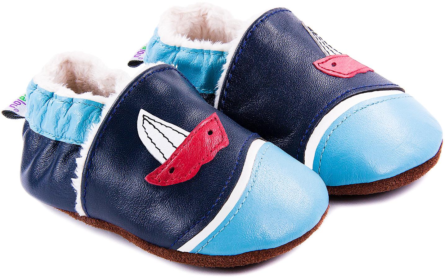 Chaussons bébé fourrés en cuir Larguez les Amarres - bleu